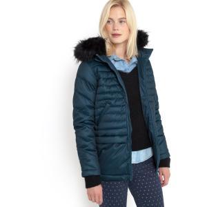 Куртка стеганая с капюшоном и застежкой на молнию R essentiel. Цвет: серый,черный