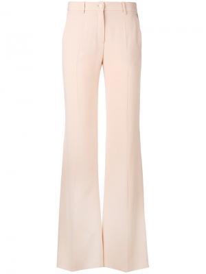 Строгие расклешенные брюки Roberto Cavalli. Цвет: розовый и фиолетовый