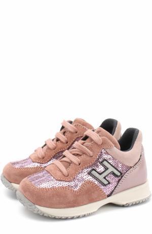 Кожаные кроссовки с замшевой отделкой и пайетками Hogan. Цвет: розовый
