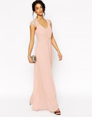 ASOS Платье макси с кружевом Kate. Цвет: розовый