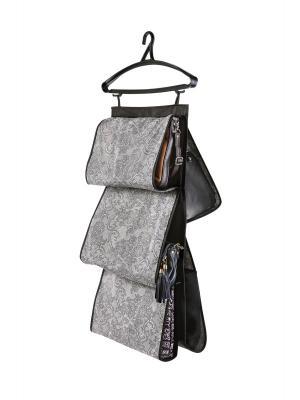 Кофр для сумок, двусторонний 5 карманов, 40х70см Ажур 209 COFRET. Цвет: серый, черный