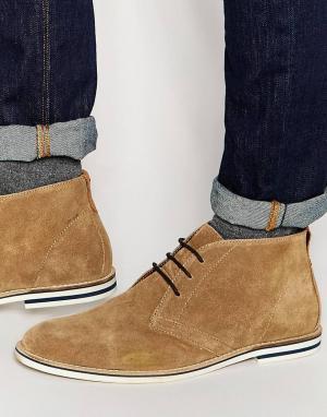 Dune Светло-коричневые замшевые ботинки чукка. Цвет: рыжий