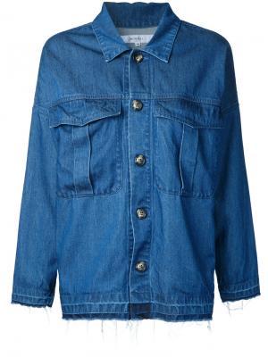 Джинсовая куртка с вышитыми цветами Murral. Цвет: синий