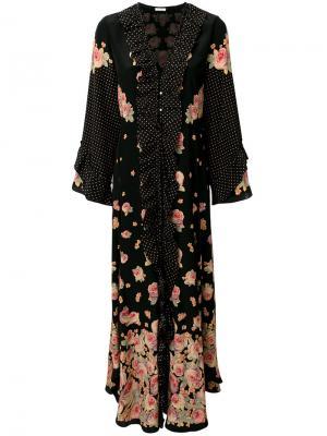 Floral print frill panel dress Vilshenko. Цвет: чёрный