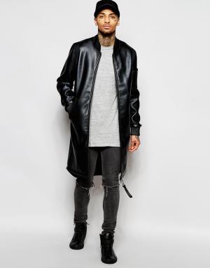 Dark Future Черная удлиненная куртка-пилот из искусственной кожи. Цвет: черный