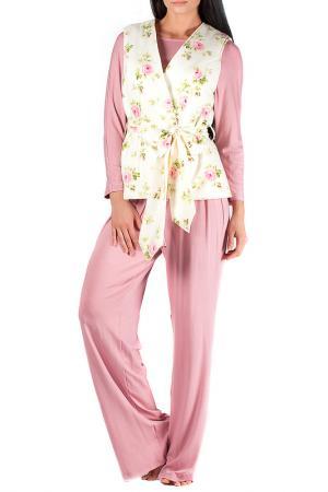 Комплект: брюки, топ и жилет MONNA MURR. Цвет: розово-желтый