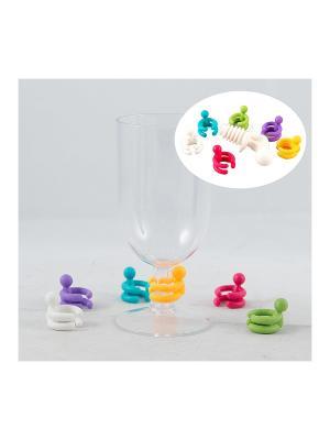 Набор для вина: пробка, фигурки на бокалы Русские подарки. Цвет: прозрачный, оранжевый, оливковый, бронзовый, малиновый, фиолетовый