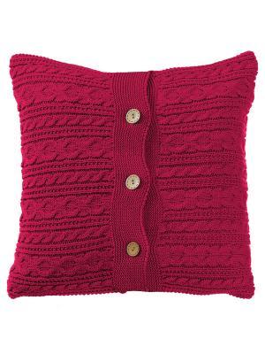 Вязаный чехол для подушки Пурпур Altali. Цвет: малиновый