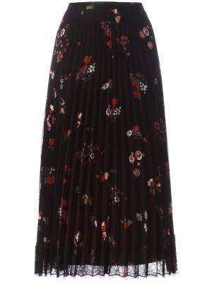 Плиссированная юбка с цветочным узором Red Valentino. Цвет: чёрный