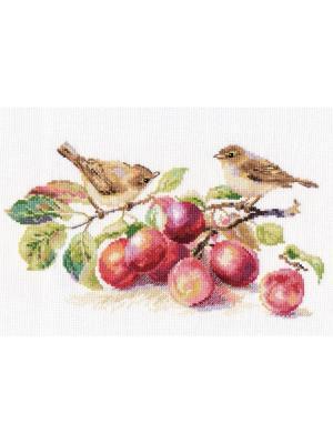 Набор для вышивания Пеночки и слива 29х16 см  Алиса. Цвет: коричневый, сиреневый, сливовый, темно-коричневый