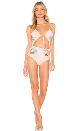 Слитный купальник smitten lolli swim. Цвет: розовый