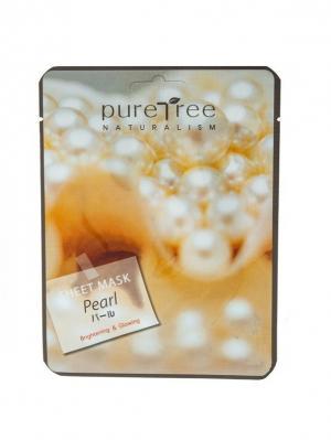 Тканевая маска с жемчужной пудрой PURE TREE 20 гр.*5 шт.. Цвет: серый меланж, светло-оранжевый, темно-бежевый
