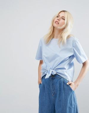 J.O.A Блузка с короткими рукавами и завязкой. Цвет: синий