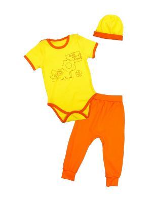 Боди для детей, шапка, ползунки Апрель. Цвет: желтый, оранжевый