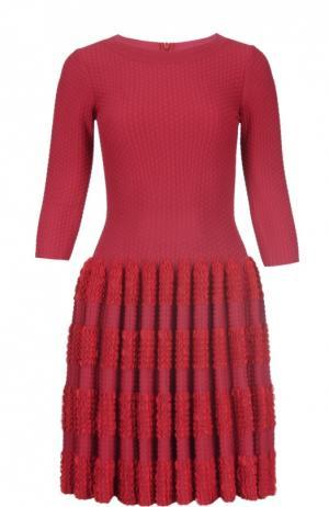 Мини-платье с драпированной юбкой Alaia. Цвет: красный
