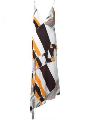 Асимметричное платье с V-образным вырезом Manning Cartell. Цвет: многоцветный