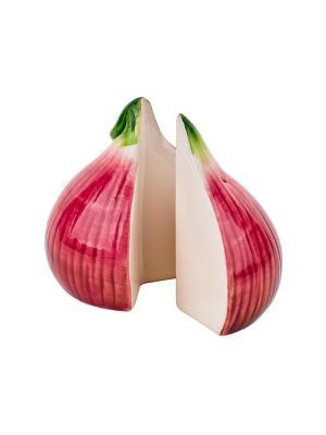Набор солонка и перечница Лук репчатый-Бабушкины соленья Elff Ceramics. Цвет: бордовый
