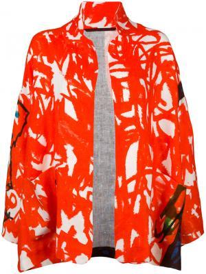 Patterned open-front jacket Daniela Gregis. Цвет: красный