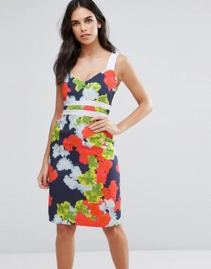 Vesper Платье-футляр с контрастными вставками на талии и цветочным принтом Ve. Цвет: мульти