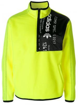 Флисовая толстовка на молнии Adidas Originals By Alexander Wang. Цвет: жёлтый и оранжевый
