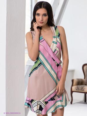 Платье G-SEL. Цвет: бежевый, бледно-розовый, светло-зеленый