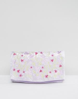 ASOS Бархатный клатч с вышивкой. Цвет: фиолетовый