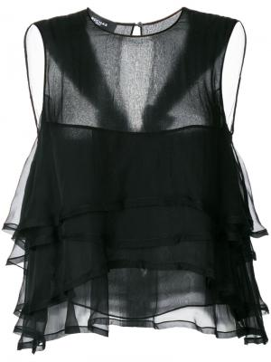 Блузка без рукавов с оборкой Rochas. Цвет: чёрный