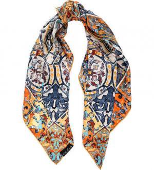 Разноцветный шелковый платок FRAAS. Цвет: синий