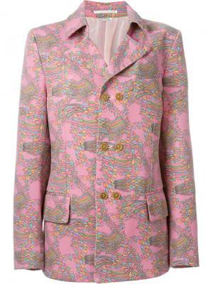 Двубортный пиджак с геометрическим принтом Comme Des Garçons Vintage. Цвет: розовый и фиолетовый