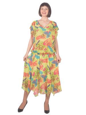 Блузка Томилочка Мода ТМ. Цвет: светло-зеленый, бежевый, светло-оранжевый