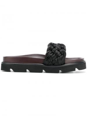 Woven slider sandals Mulberry. Цвет: чёрный