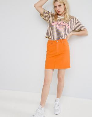 ASOS Оранжевая джинсовая юбка с завышенной талией. Цвет: желтый
