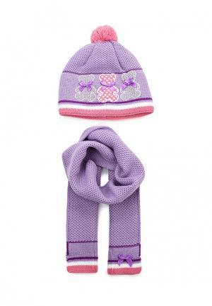 Комплект шапка и шарф Maxval. Цвет: фиолетовый