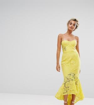 Jarlo Petite Кружевное платье-бандо миди. Цвет: желтый
