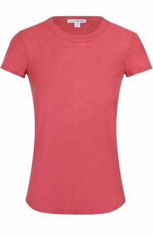 Хлопковая футболка с круглым вырезом James Perse. Цвет: красный