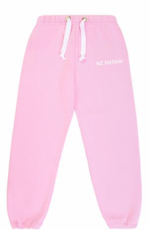 Спортивные брюки с принтом на кулиске Natasha Zinko. Цвет: розовый