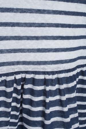 Льняное платье Tegin. Цвет: белый, синий