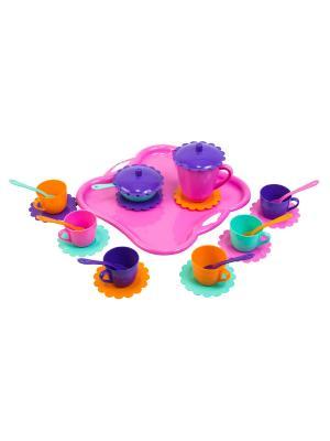 Набор посуды Ромашка на 6 персон  с подносом (большой) ТИГРЕС. Цвет: голубой, фиолетовый, оранжевый, синий