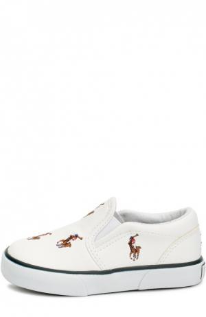 Слипоны из эко-кожи с вышивкой Polo Ralph Lauren. Цвет: белый
