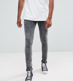 ASOS Черные выбеленные рваные джинсы супероблегающего кроя TALL. Цвет: черный