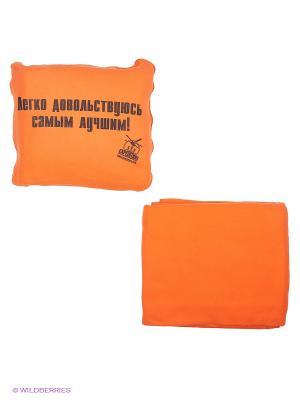 Автомобильный плед-подушка оранжевый Легко довольствуюсь самым лучшим! Экспедиция. Цвет: оранжевый