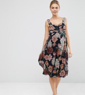 ASOS Maternity Шифоновое платье миди для беременных с цветочным принтом Maternit. Цвет: мульти