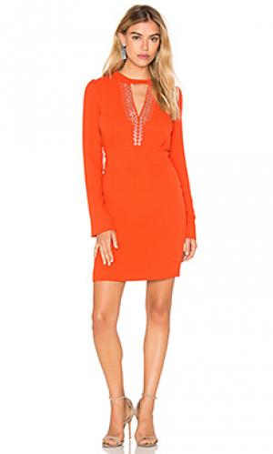 Платье с длинным рукавом и вырезом-капля IKKS Paris. Цвет: оранжевый