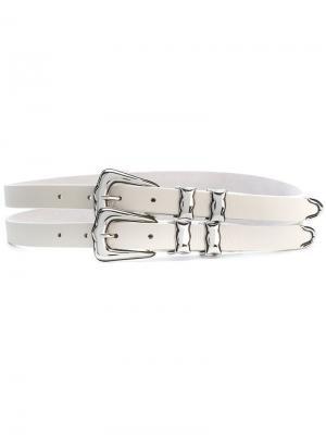 Двойной ремень с пряжками B-Low The Belt. Цвет: белый