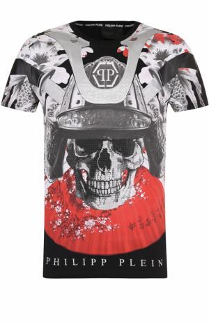 Хлопковая футболка с принтом и круглым вырезом Philipp Plein. Цвет: черный