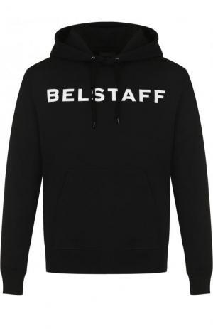 Хлопковое худи с логотипом бренда Belstaff. Цвет: черный