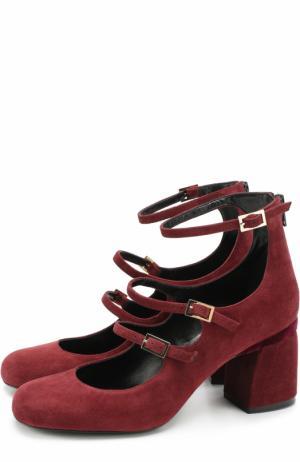Замшевые туфли с ремешками на массивом каблуке Baldan. Цвет: бордовый