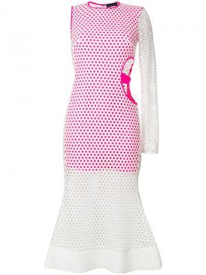 Асимметричное расклешенное платье David Koma. Цвет: белый