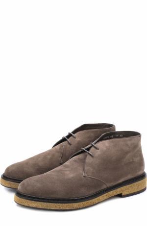 Замшевые ботинки с внутренней меховой отделкой Santoni. Цвет: бежевый