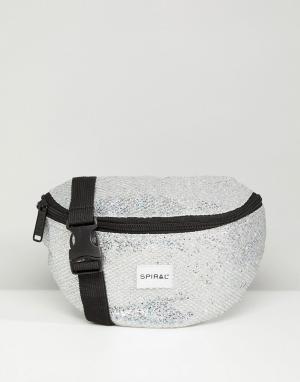 Spiral Блестящая серебристая сумка-кошелек на пояс. Цвет: серебряный